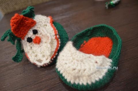 Тапочки Дед Мороз. Мастер-класс Анны Кузнецовой вязание и схемы вязания