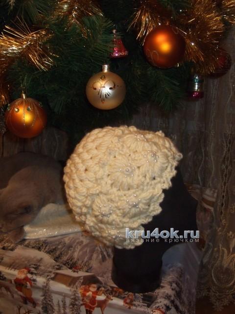 Теплая шапка крючком. Работа Марии Казановой вязание и схемы вязания