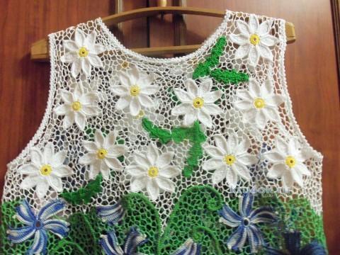 Туника Полевые цветы. Работа Лилии Эскабар вязание и схемы вязания