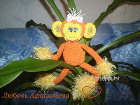 Вязаная крючком обезьянка. Работа Любови вязание и схемы вязания