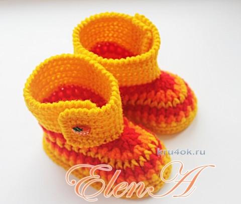 Вязаные крючком пинетки. Работы Елены Зубковой вязание и схемы вязания