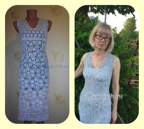 Женское платье крючком. Работа Нины вязание и схемы вязания