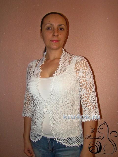Ажурный летний жакет. Работа Евгении Руденко вязание и схемы вязания