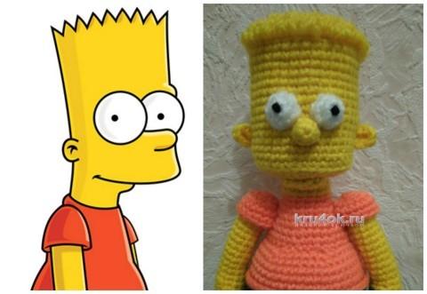 Барт Симпсон крючком. Работа Ксении вязание и схемы вязания