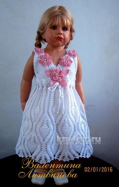 Нарядное платье для девочки крючком с узором ананас
