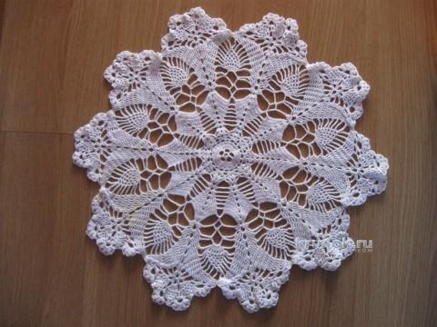 Салфетка Цветы и кружева. Работа Татьяны вязание и схемы вязания