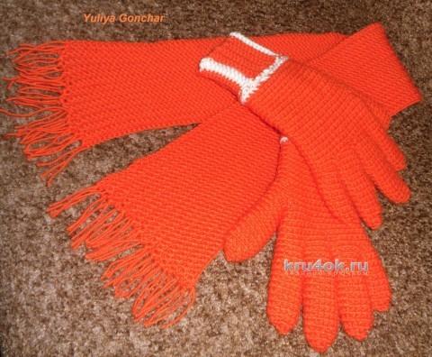 Шляпка и шарф крючком. Работы Юлии вязание и схемы вязания
