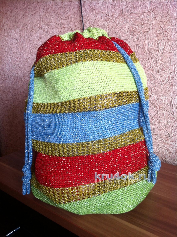 685b9bdcc737 Сумка — мешок, связанная тунисским крючком. Работа Татьяны