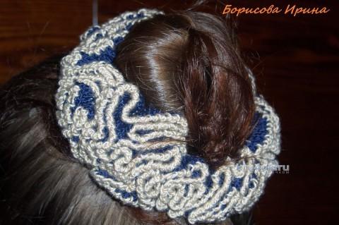 Вязаная резинка для волос. Работа Борисовой Ирины вязание и схемы вязания
