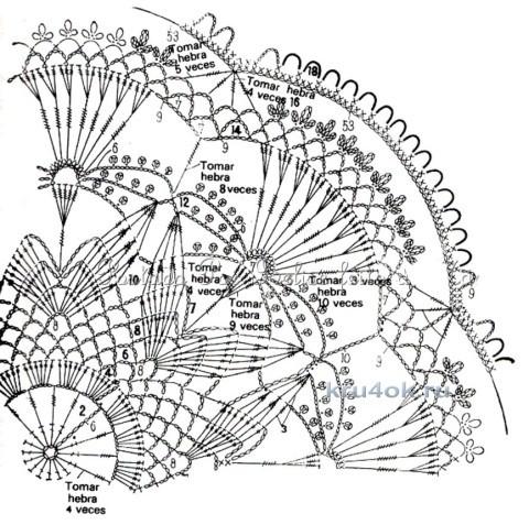 Вязаная салфетка. Работа Альбины Петровны вязание и схемы вязания
