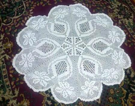 Вязаная салфетка. Работа Виктории вязание и схемы вязания