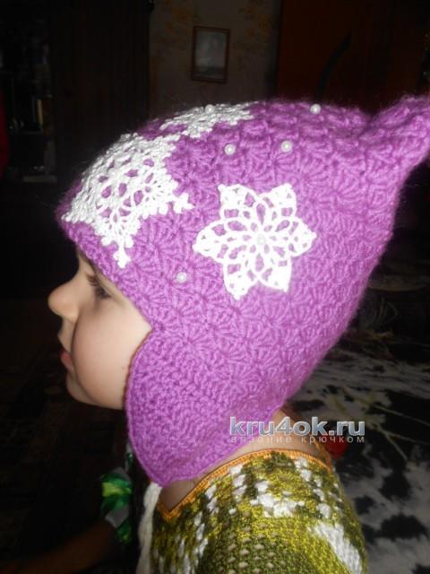 Зимняя шапочка для девочки. Работа Галины Лукериной вязание и схемы вязания
