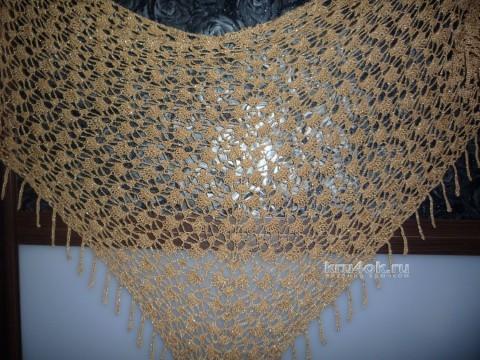 Ажурная шаль крючком. Работа Елены Владимировны вязание и схемы вязания