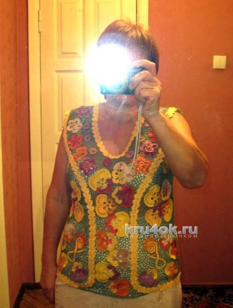 Летняя блузка Цветочное настроение. Работа Любови вязание и схемы вязания