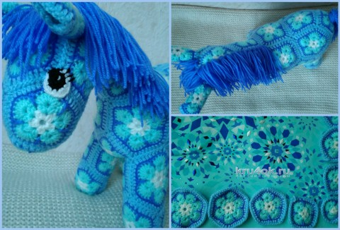 Лошадка из мотивов. Работа Ксении вязание и схемы вязания