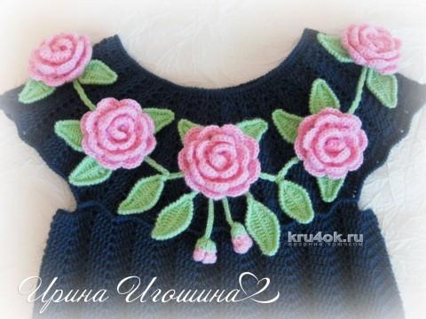 Платье - туника Розовые розы. Работа Ирины Игошиной вязание и схемы вязания