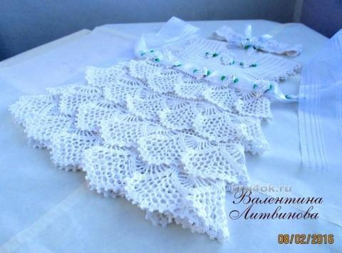 Платье для девочки Белое облачко. Работа Валентины Литвиновой вязание и схемы вязания