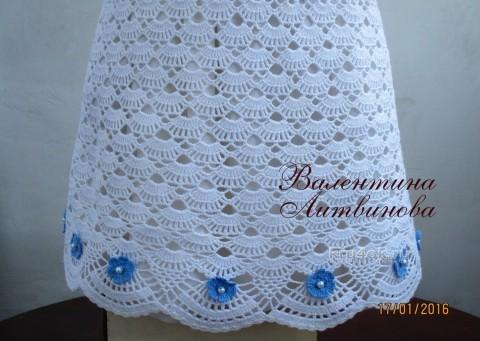 Платье пляжное Незабудка. Работа Валентины Литвиновой вязание и схемы вязания