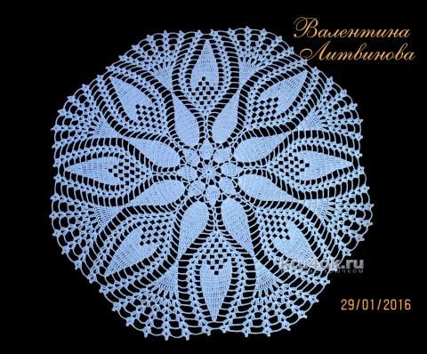 Салфетка крючком. Работа Валентины Литвиновой вязание и схемы вязания