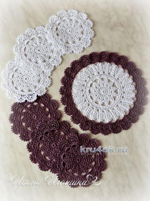 Сервировочный комплект салфеток Чайная церемония вязание и схемы вязания