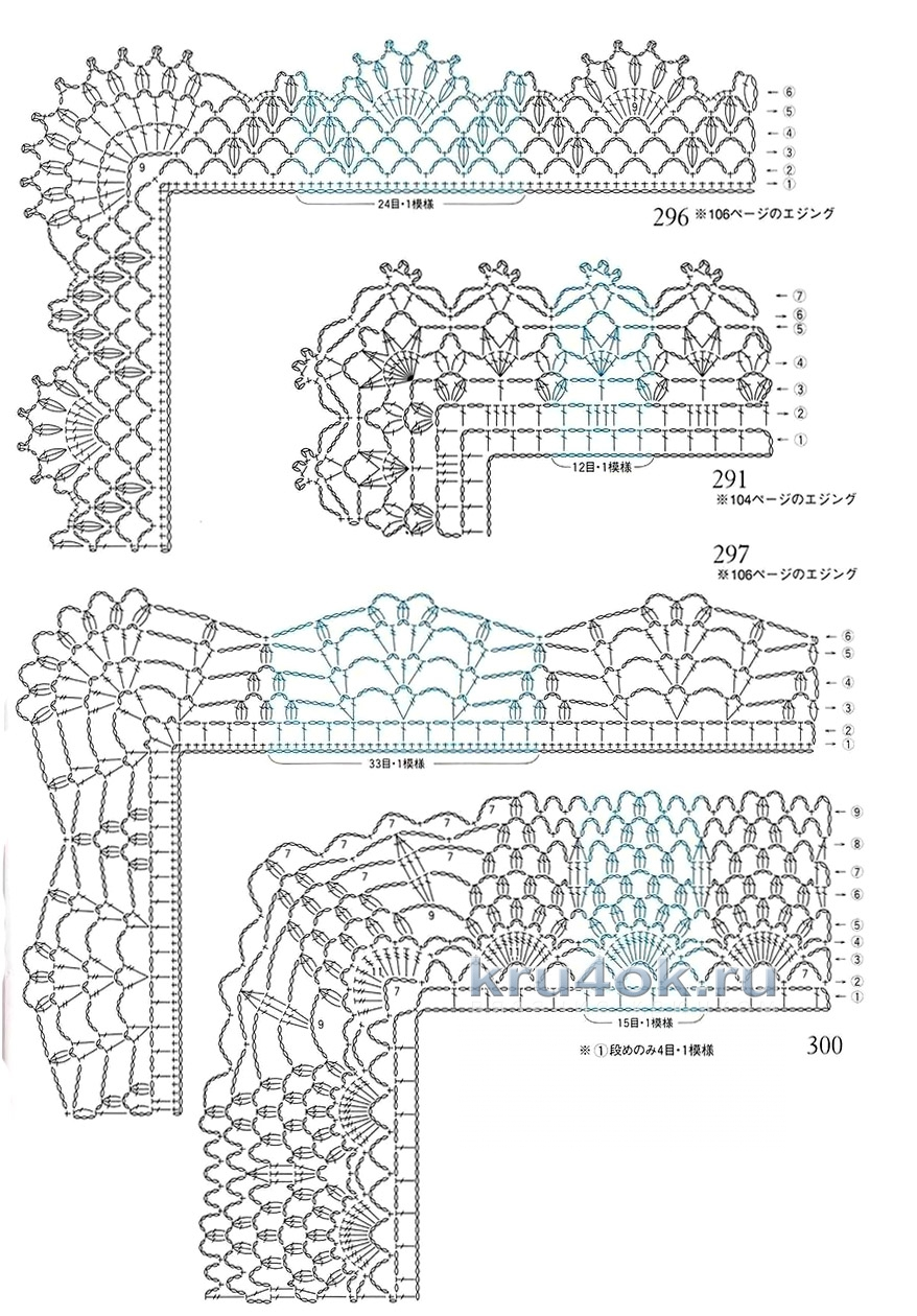 Схемы вязания крючком каймы для шалей крючком схемы