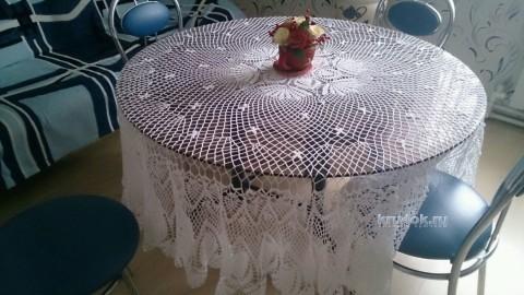 Вязаная крючком скатерть. Работа Татьяны Ивановны вязание и схемы вязания