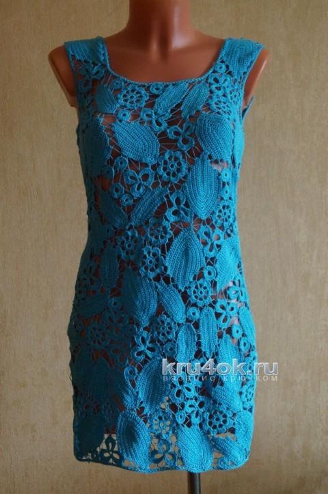 Вязаное крючком платье. Работа Оксаны вязание и схемы вязания