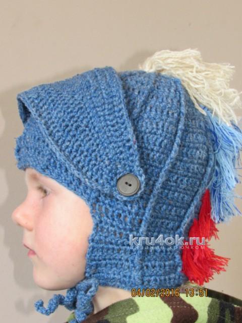 Вязаный шлем для мальчика. Работа Галины вязание и схемы вязания