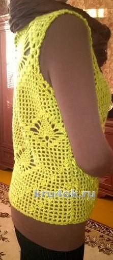 Женский жилет крючком. Работа Елены вязание и схемы вязания
