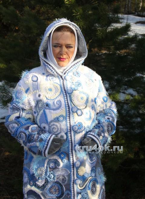 Зимний день. Пальто в технике фриформ вязание и схемы вязания