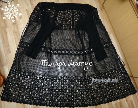 Ажурное пальто Черный жемчуг. Работа Тамары Матус вязание и схемы вязания