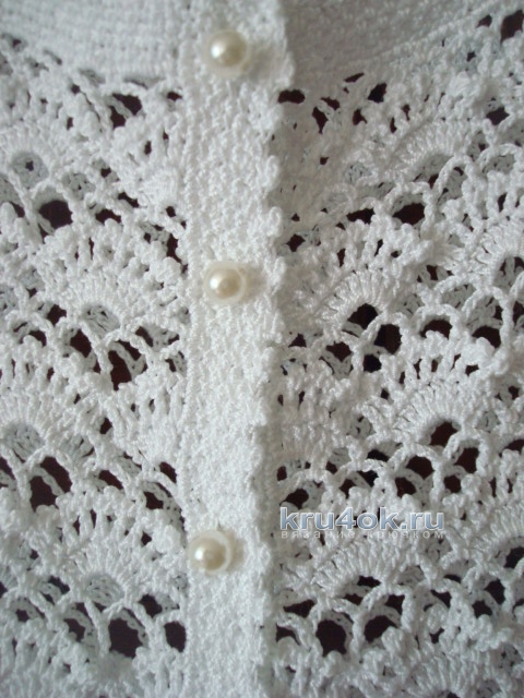 Белая кофточка крючком. Работа Анжелы вязание и схемы вязания