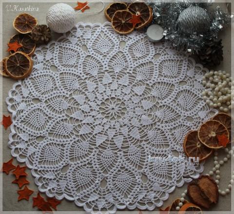 Белоснежная салфетка. Работа Валентины Касаткиной вязание и схемы вязания