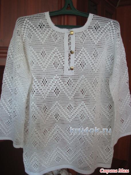 Филеная рубашка. Работа Анжелы вязание и схемы вязания