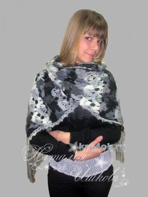 Палантин, связанный брюггским кружевом вязание и схемы вязания