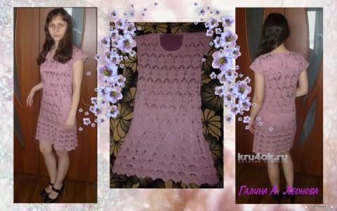 Платье с узором Листочки. Работа Галины Леоновой вязание и схемы вязания