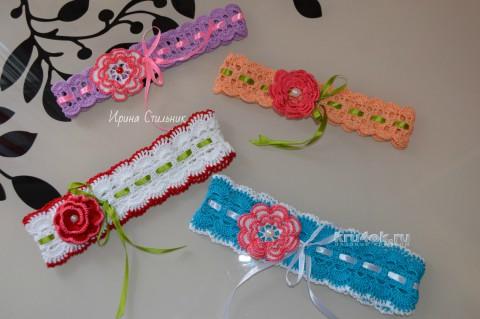 Повязка для девочки. Работа Ирины Стильник вязание и схемы вязания