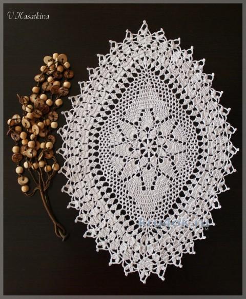 Салфетка Листочек. Работа Валентины Касаткиной вязание и схемы вязания