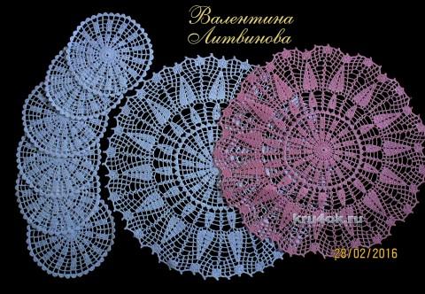 Сервировочный комплект Дачный. Работа Валентины Литвиновой вязание и схемы вязания