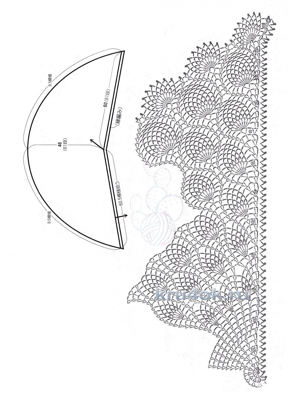 Вязание крючком шаль с ананасами схема 17