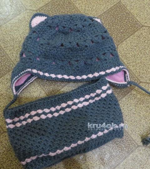 Шапка и снуд крючком. Работы Анны Кузнецова вязание и схемы вязания