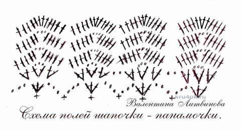 Шапочка - панамка крючком. Работа Валентины Литвиновой вязание и схемы вязания