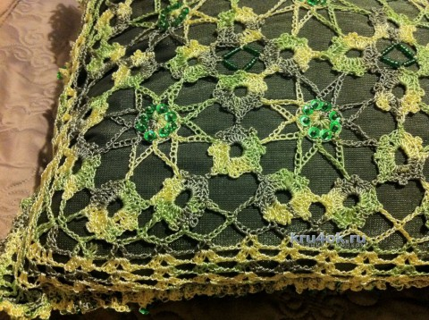 Вязаный чехол для подушки. Работа Надежды Борисовой вязание и схемы вязания