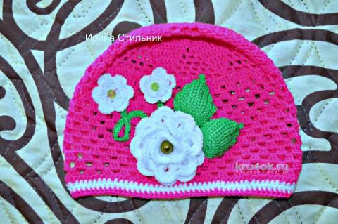 Детская шапочка крючком. Работа Ирины Стильник вязание и схемы вязания