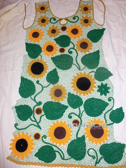 Летнее платье в технике ирландское кружево вязание и схемы вязания