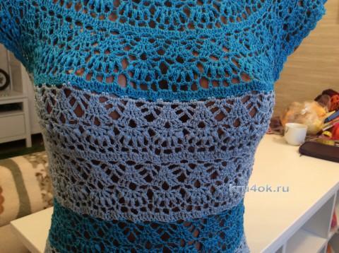 Маечка летняя Морская. Работа Татьяны вязание и схемы вязания