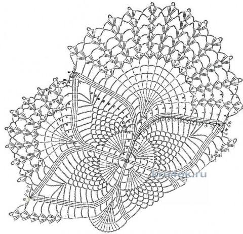 Салфетка крючком Лазурное озеро. Работа Галины Леоновой вязание и схемы вязания