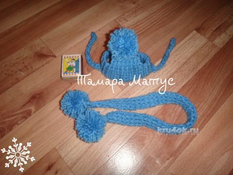 Шапочка и шарф для пинчера. Работы Тамары Матус вязание и схемы вязания