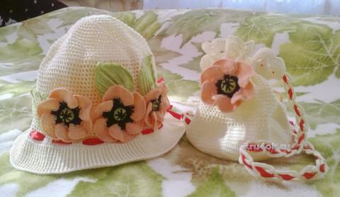 Шапочка и сумочка для девочки. Работы Ирины вязание и схемы вязания