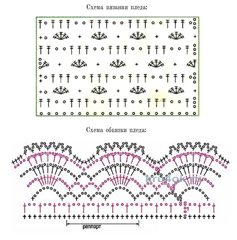 Вязание крючком по диагонали схемы пледы 95